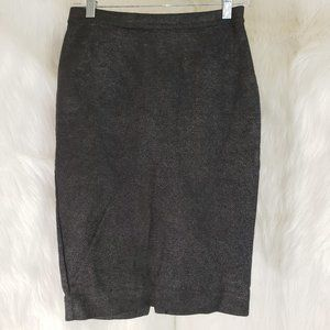 ZARA TRF Metallic Gray Black Knit Pencil Skirt M